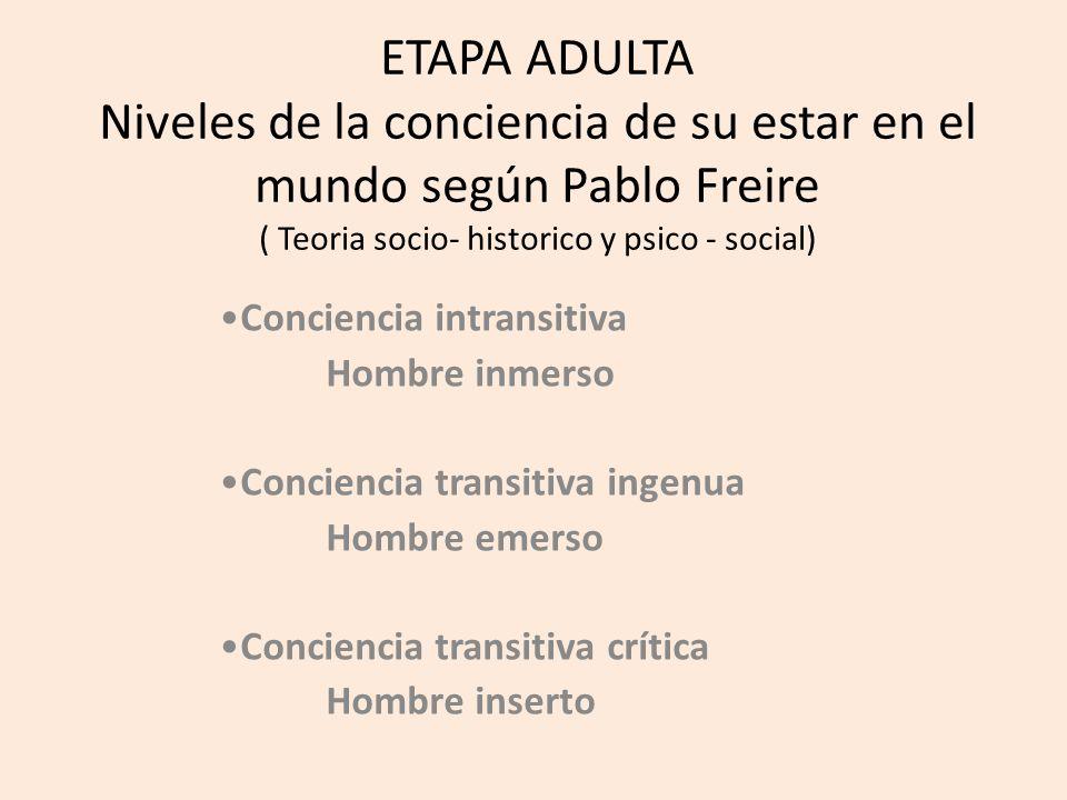 ETAPA ADULTA Niveles de la conciencia de su estar en el mundo según Pablo Freire ( Teoria socio- historico y psico - social) Conciencia intransitiva Hombre inmerso Conciencia transitiva ingenua Hombre emerso Conciencia transitiva crítica Hombre inserto