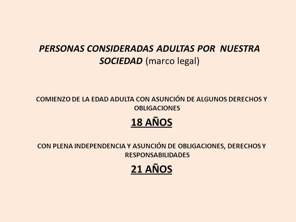 PERSONAS CONSIDERADAS ADULTAS POR NUESTRA SOCIEDAD (marco legal) COMIENZO DE LA EDAD ADULTA CON ASUNCIÓN DE ALGUNOS DERECHOS Y OBLIGACIONES 18 AÑOS CON PLENA INDEPENDENCIA Y ASUNCIÓN DE OBLIGACIONES, DERECHOS Y RESPONSABILIDADES 21 AÑOS