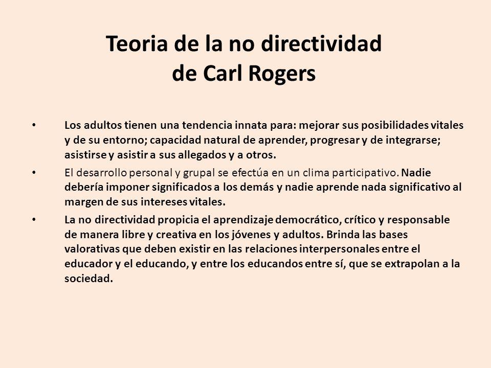 Teoria de la no directividad de Carl Rogers Los adultos tienen una tendencia innata para: mejorar sus posibilidades vitales y de su entorno; capacidad natural de aprender, progresar y de integrarse; asistirse y asistir a sus allegados y a otros.