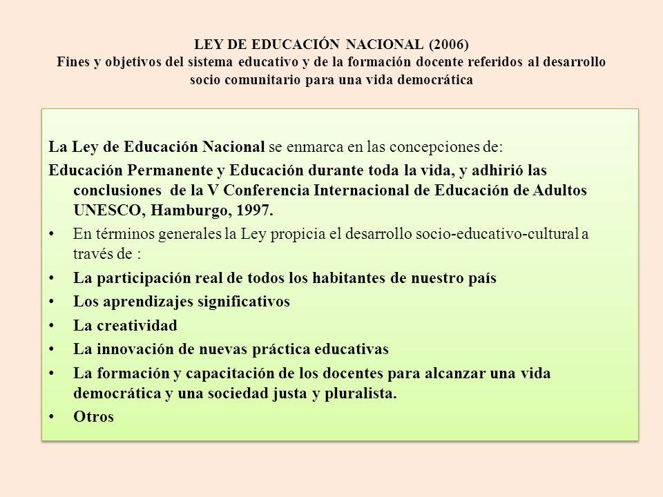 LEY DE EDUCACIÓN NACIONAL (2006) Fines y objetivos del sistema educativo y de la formación docente referidos al desarrollo socio comunitario para una vida democrática La Ley de Educación Nacional se enmarca en las concepciones de: Educación Permanente y Educación durante toda la vida, y adhirió las conclusiones de la V Conferencia Internacional de Educación de Adultos UNESCO, Hamburgo, 1997.