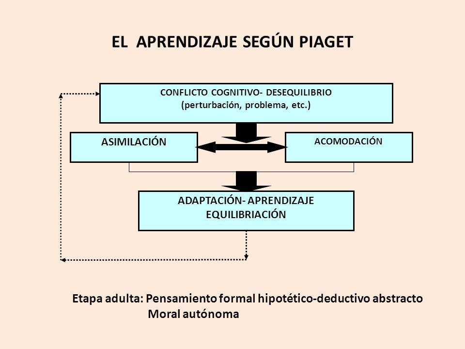 ASIMILACIÓN ACOMODACIÓN ADAPTACIÓN- APRENDIZAJE EQUILIBRIACIÓN CONFLICTO COGNITIVO- DESEQUILIBRIO (perturbación, problema, etc.) EL APRENDIZAJE SEGÚN PIAGET Etapa adulta: Pensamiento formal hipotético-deductivo abstracto Moral autónoma