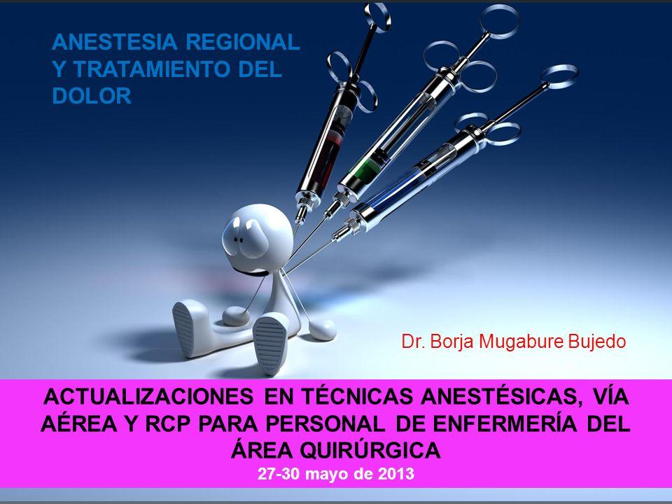 INTRODUCCIÓN I.TIPOS DE ANESTESIA REGIONAL I.Neuroaxial: epidural, intradural II.Periférica: paravertebral, plexos nerviosos III.Herida quirúrgica: catéter subfascial IV.Regional intravenosa II.MEDICACIÓN I.Anestésicos locales, opioides II.Tratamiento de los efectos 2º III.Manejo del catéter III.ANESTESIA COMBINADA I.Regional/sedación II.Regional/general IV.TTO DEL DOLOR I.PCA-IV II.Analgesia multimodal I.TIPOS DE ANESTESIA REGIONAL I.Neuroaxial: epidural, intradural II.Periférica: paravertebral, plexos nerviosos III.Herida quirúrgica: catéter subfascial IV.Regional intravenosa II.MEDICACIÓN I.Anestésicos locales, opioides II.Tratamiento de los efectos 2º III.Manejo del catéter III.ANESTESIA COMBINADA I.Regional/sedación II.Regional/general IV.TTO DEL DOLOR I.PCA-IV II.Analgesia multimodal