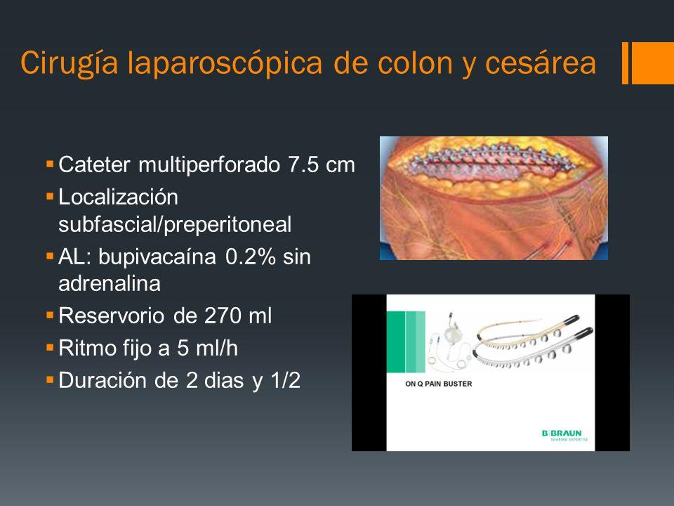 Cirugía laparoscópica de colon y cesárea Cateter multiperforado 7.5 cm Localización subfascial/preperitoneal AL: bupivacaína 0.2% sin adrenalina Reser