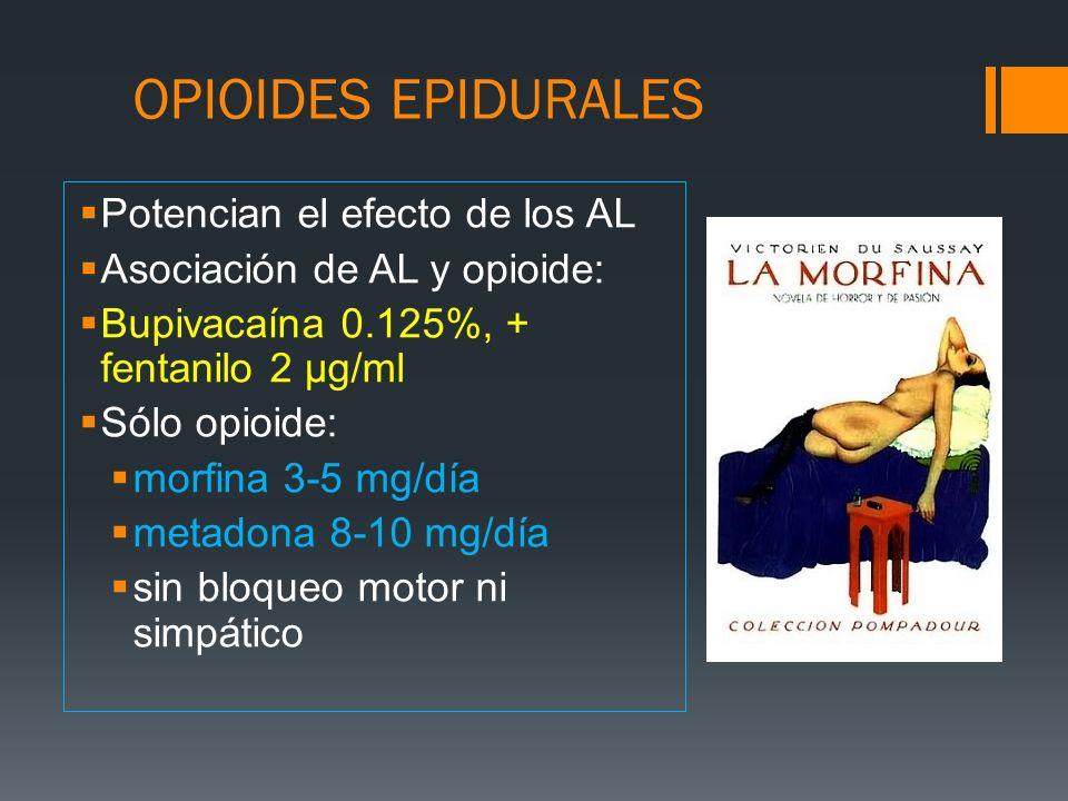 OPIOIDES EPIDURALES Potencian el efecto de los AL Asociación de AL y opioide: Bupivacaína 0.125%, + fentanilo 2 μg/ml Sólo opioide: morfina 3-5 mg/día