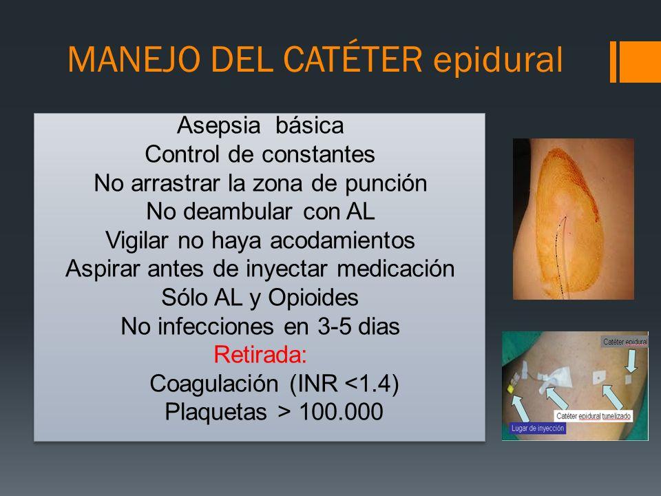 MANEJO DEL CATÉTER epidural Asepsia básica Control de constantes No arrastrar la zona de punción No deambular con AL Vigilar no haya acodamientos Aspi