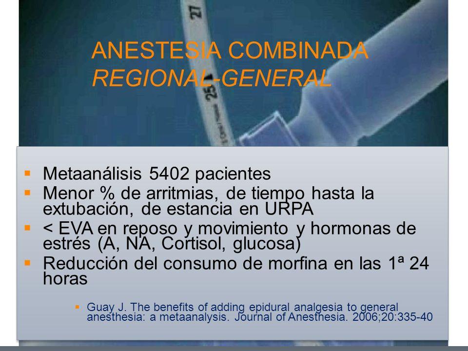 ANESTESIA COMBINADA REGIONAL-GENERAL Metaanálisis 5402 pacientes Menor % de arritmias, de tiempo hasta la extubación, de estancia en URPA < EVA en rep