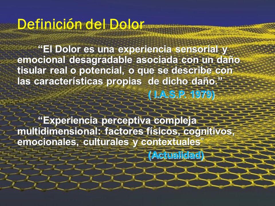 Definición del Dolor El Dolor es una experiencia sensorial y emocional desagradable asociada con un daño tisular real o potencial, o que se describe c