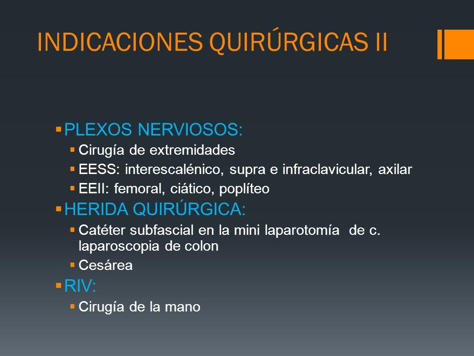 INDICACIONES QUIRÚRGICAS II PLEXOS NERVIOSOS: Cirugía de extremidades EESS: interescalénico, supra e infraclavicular, axilar EEII: femoral, ciático, p