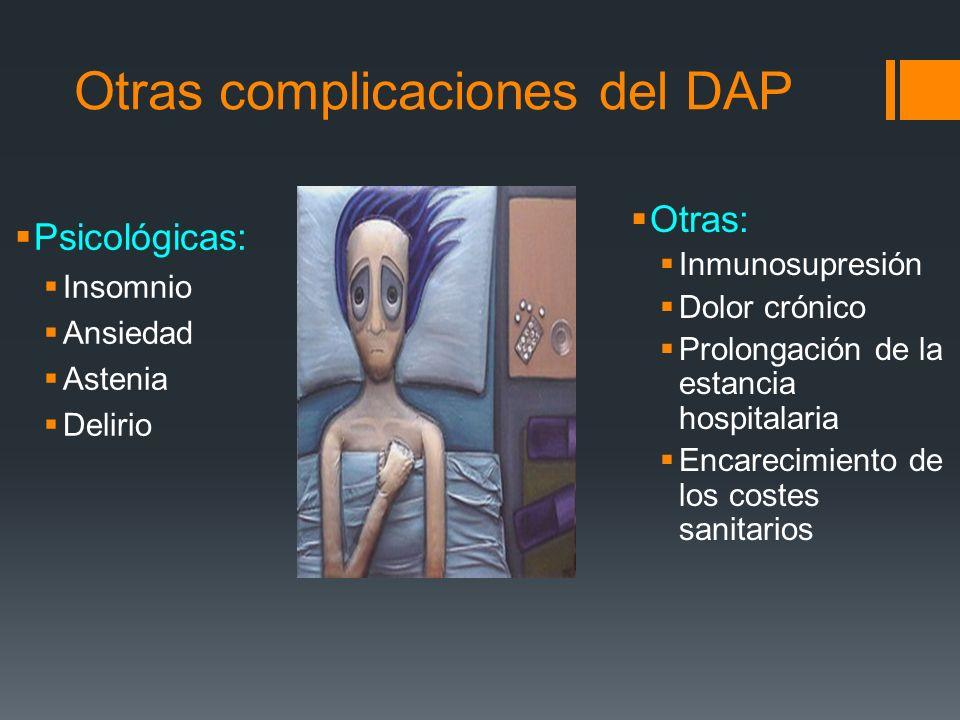 Otras complicaciones del DAP Psicológicas: Insomnio Ansiedad Astenia Delirio Otras: Inmunosupresión Dolor crónico Prolongación de la estancia hospital