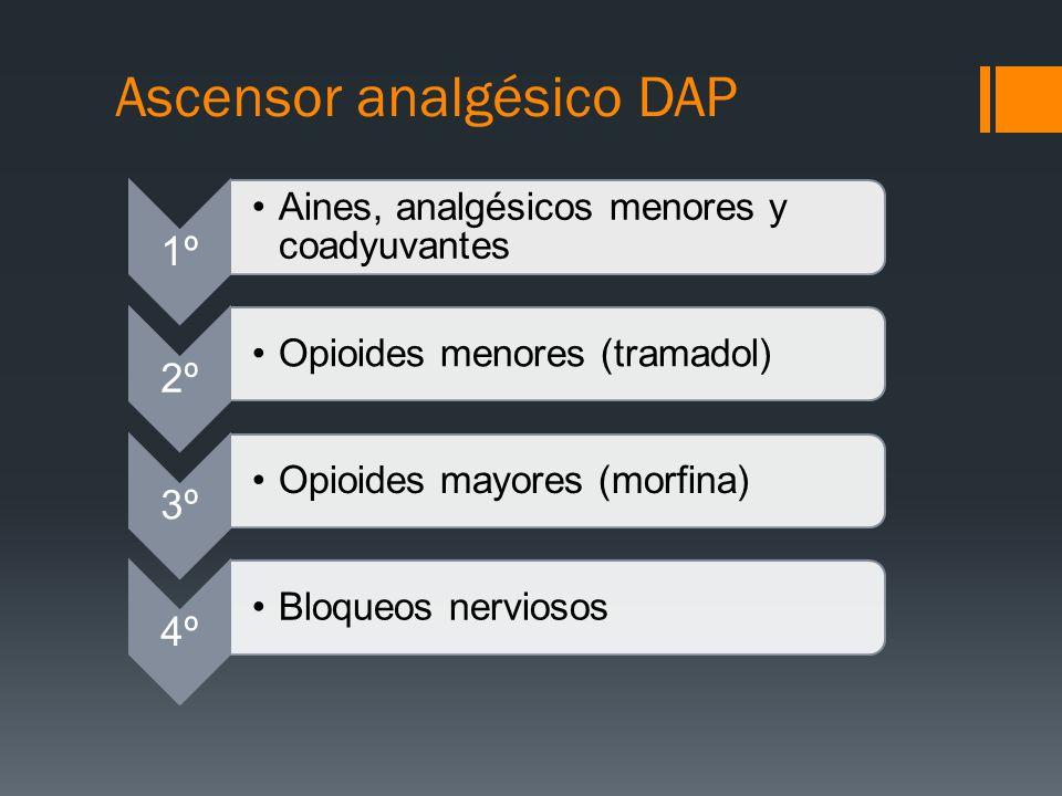 Ascensor analgésico DAP 1º Aines, analgésicos menores y coadyuvantes 2º Opioides menores (tramadol) 3º Opioides mayores (morfina) 4º Bloqueos nervioso