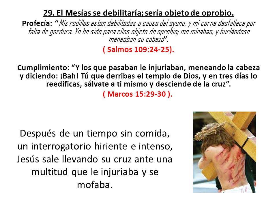 29. El Mesías se debilitaría; sería objeto de oprobio. Profecía: Mis rodillas están debilitadas a causa del ayuno, y mi carne desfallece por falta de