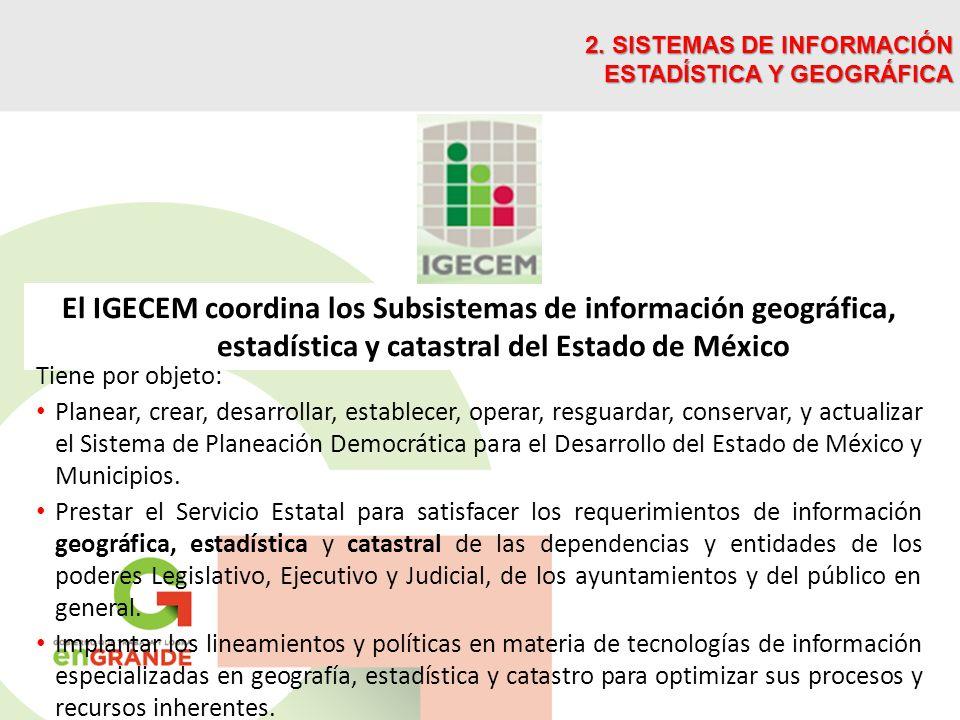El IGECEM coordina los Subsistemas de información geográfica, estadística y catastral del Estado de México 2. SISTEMAS DE INFORMACIÓN ESTADÍSTICA Y GE
