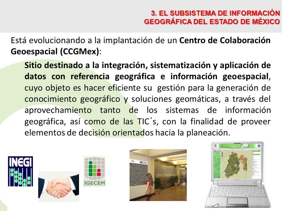 Está evolucionando a la implantación de un Centro de Colaboración Geoespacial (CCGMex): Sitio destinado a la integración, sistematización y aplicación