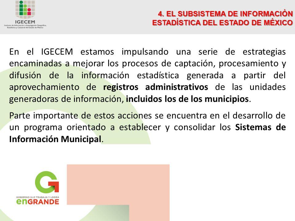 En el IGECEM estamos impulsando una serie de estrategias encaminadas a mejorar los procesos de captación, procesamiento y difusión de la información estadística generada a partir del aprovechamiento de registros administrativos de las unidades generadoras de información, incluidos los de los municipios.