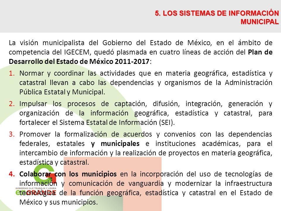 La visión municipalista del Gobierno del Estado de México, en el ámbito de competencia del IGECEM, quedó plasmada en cuatro líneas de acción del Plan de Desarrollo del Estado de México 2011-2017: 1.Normar y coordinar las actividades que en materia geográfica, estadística y catastral llevan a cabo las dependencias y organismos de la Administración Pública Estatal y Municipal.
