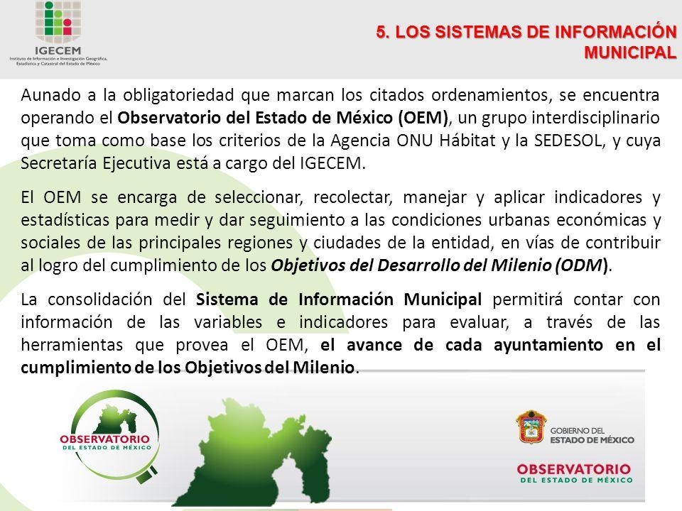 Aunado a la obligatoriedad que marcan los citados ordenamientos, se encuentra operando el Observatorio del Estado de México (OEM), un grupo interdisciplinario que toma como base los criterios de la Agencia ONU Hábitat y la SEDESOL, y cuya Secretaría Ejecutiva está a cargo del IGECEM.
