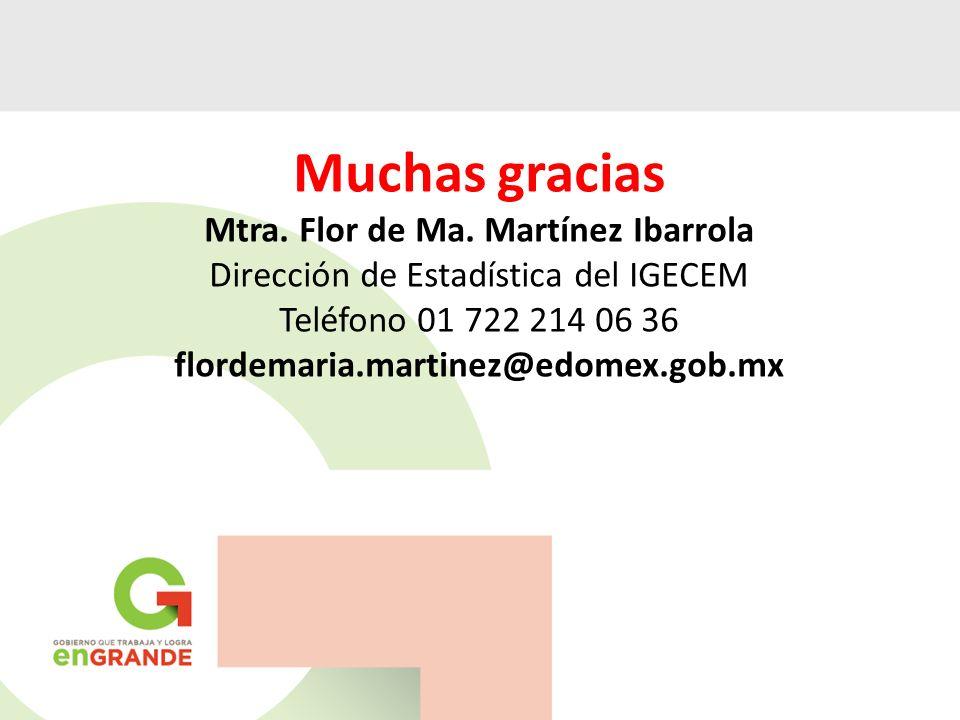 Muchas gracias Mtra. Flor de Ma. Martínez Ibarrola Dirección de Estadística del IGECEM Teléfono 01 722 214 06 36 flordemaria.martinez@edomex.gob.mx