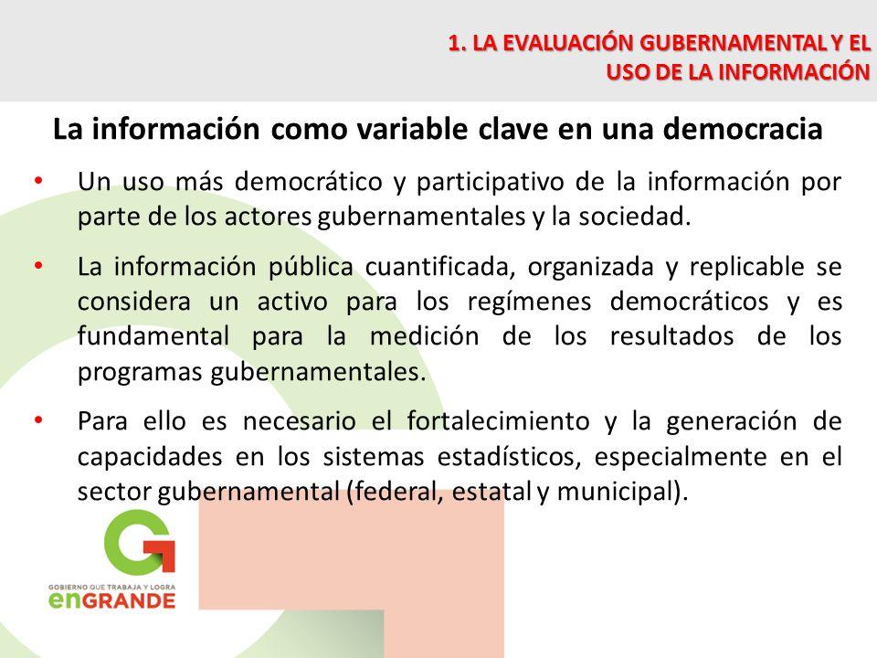 La información como variable clave en una democracia Un uso más democrático y participativo de la información por parte de los actores gubernamentales y la sociedad.