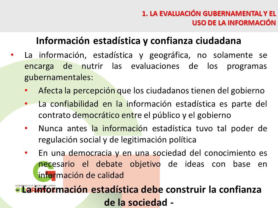 Información estadística y confianza ciudadana La información, estadística y geográfica, no solamente se encarga de nutrir las evaluaciones de los prog