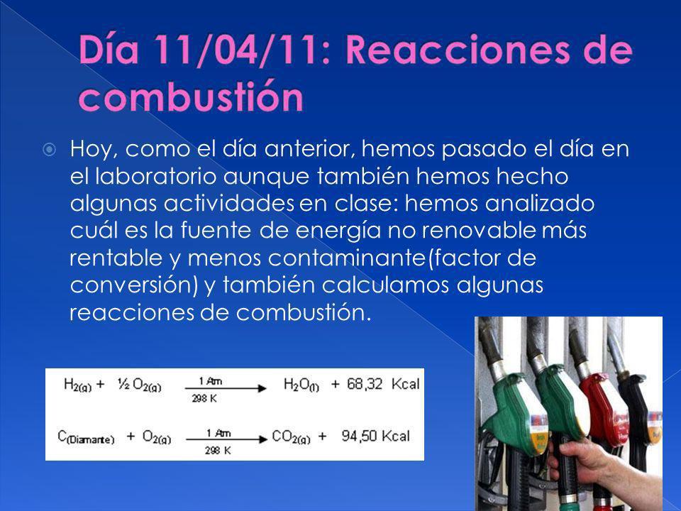 Hoy, como el día anterior, hemos pasado el día en el laboratorio aunque también hemos hecho algunas actividades en clase: hemos analizado cuál es la fuente de energía no renovable más rentable y menos contaminante(factor de conversión) y también calculamos algunas reacciones de combustión.