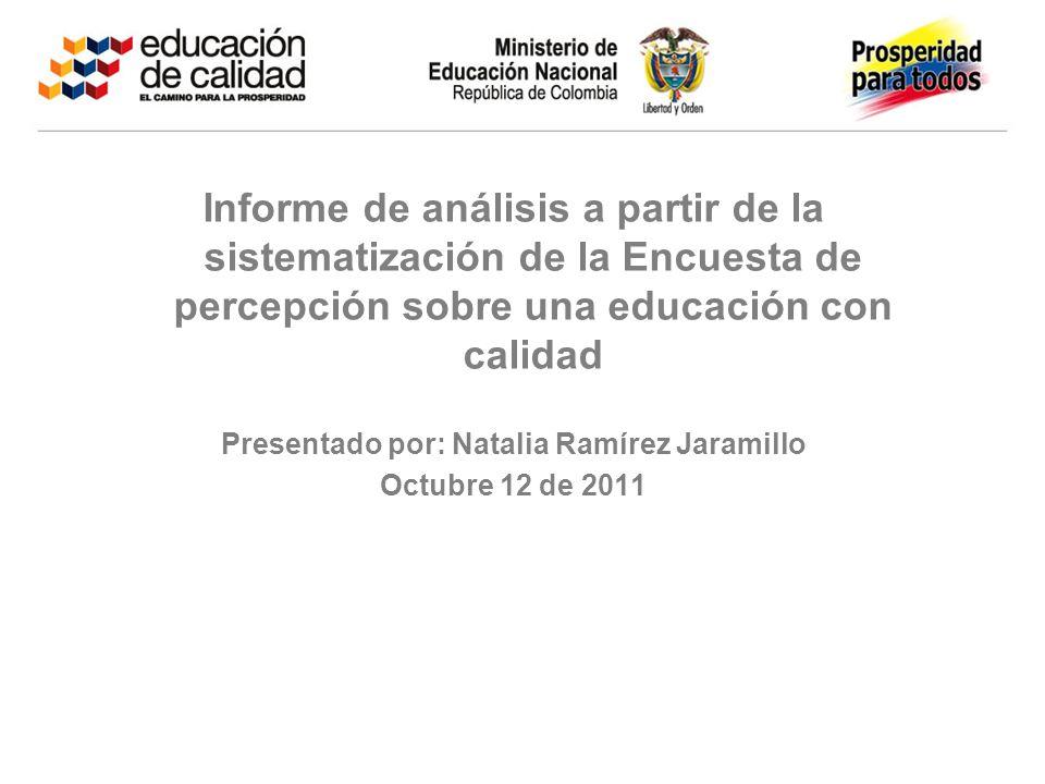 Informe de análisis a partir de la sistematización de la Encuesta de percepción sobre una educación con calidad Presentado por: Natalia Ramírez Jarami