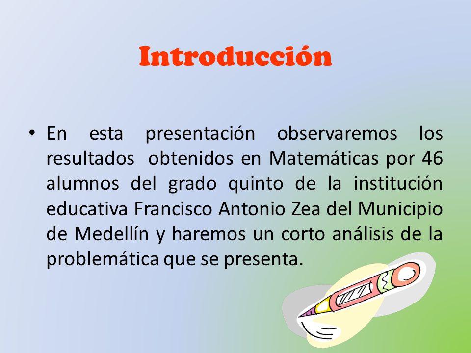 Introducción En esta presentación observaremos los resultados obtenidos en Matemáticas por 46 alumnos del grado quinto de la institución educativa Fra