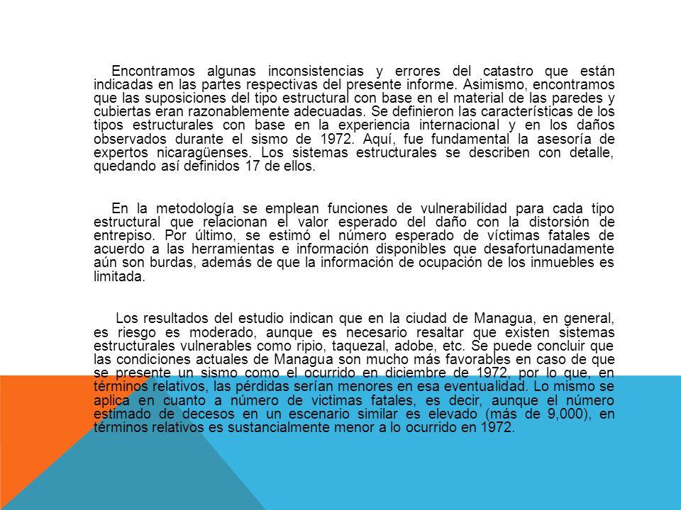En el estudio se revisó y actualizó la sismicidad y la vulnerabilidad estructural de Managua, incluyendo los efectos de sitio. La metodología de cálcu