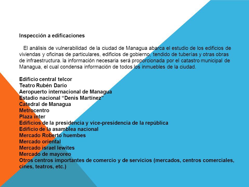 Inspección a edificaciones El análisis de vulnerabilidad de la ciudad de Managua abarca el estudio de los edificios de viviendas y oficinas de particulares, edificios de gobierno, tendido de tuberías y otras obras de infraestructura.