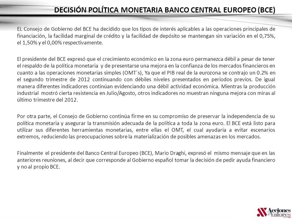 DECISIÓN POLÍTICA MONETARIA BANCO CENTRAL EUROPEO (BCE) EL Consejo de Gobierno del BCE ha decidido que los tipos de interés aplicables a las operacion