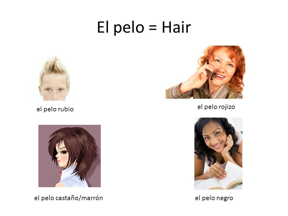 El pelo = Hair el pelo rubio el pelo rojizo el pelo castaño/marrónel pelo negro