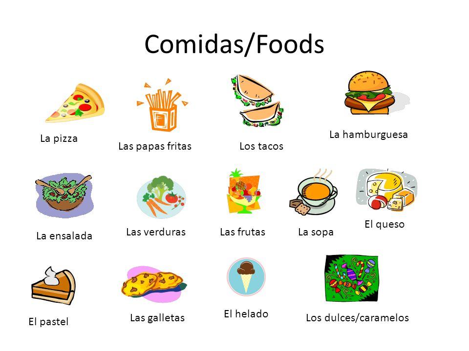 Comidas/Foods La pizza Las papas fritasLos tacos La hamburguesa La ensalada Las verdurasLas frutas El helado El pastel Las galletasLos dulces/caramelos La sopa El queso