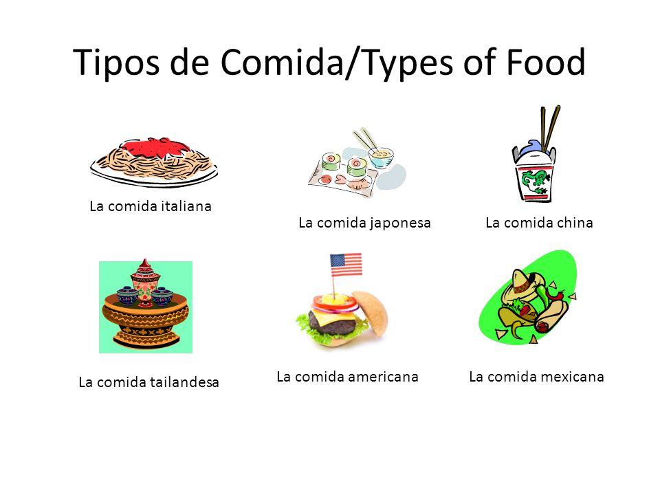 Tipos de Comida/Types of Food La comida italiana La comida chinaLa comida japonesa La comida americanaLa comida mexicana La comida tailandesa