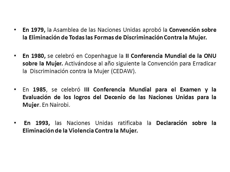 En 1979, la Asamblea de las Naciones Unidas aprobó la Convención sobre la Eliminación de Todas las Formas de Discriminación Contra la Mujer.