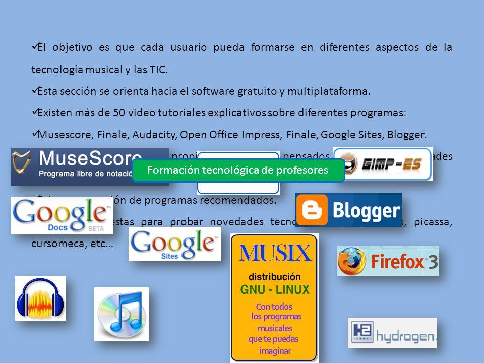 El objetivo es que cada usuario pueda formarse en diferentes aspectos de la tecnología musical y las TIC. Esta sección se orienta hacia el software gr