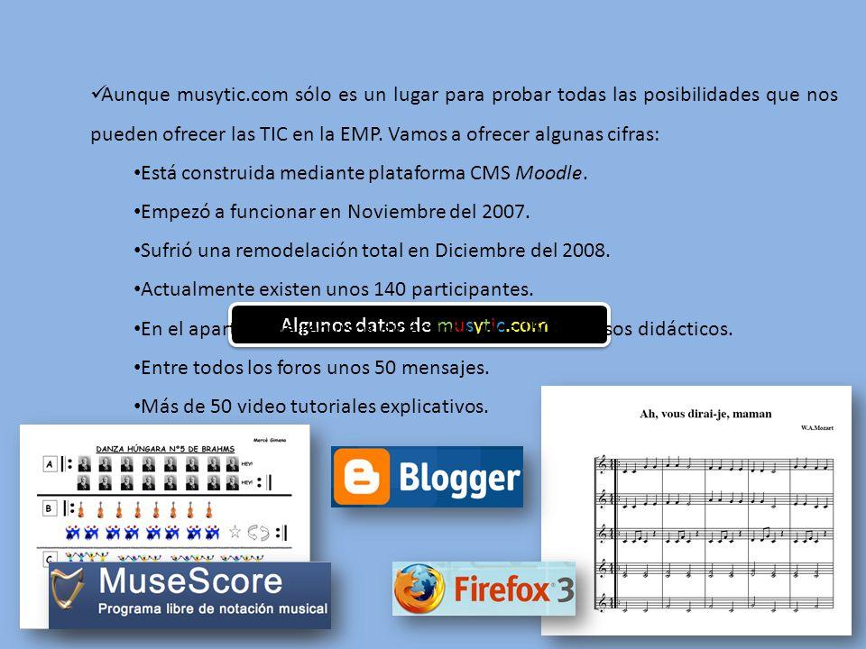 Algunos datos de musytic.com : Aunque musytic.com sólo es un lugar para probar todas las posibilidades que nos pueden ofrecer las TIC en la EMP.
