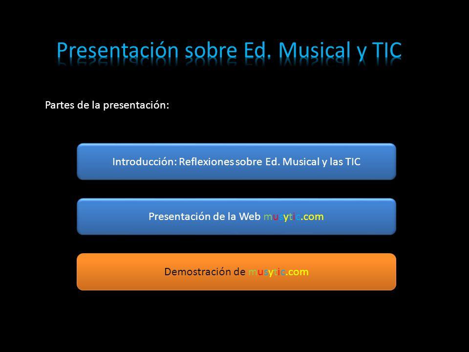 Partes de la presentación: Introducción: Reflexiones sobre Ed.