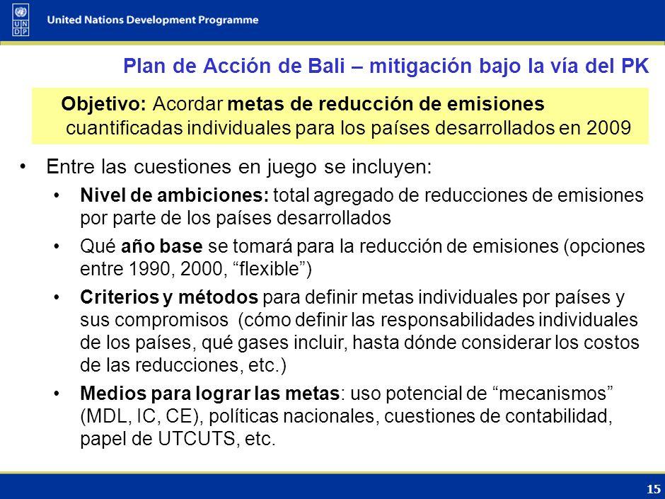 14 Las instrumentos de política incluyen: Regulaciones: estándares de eficiencia en motores y vehículos, combustibles Incentivos: impositivos y fiscal
