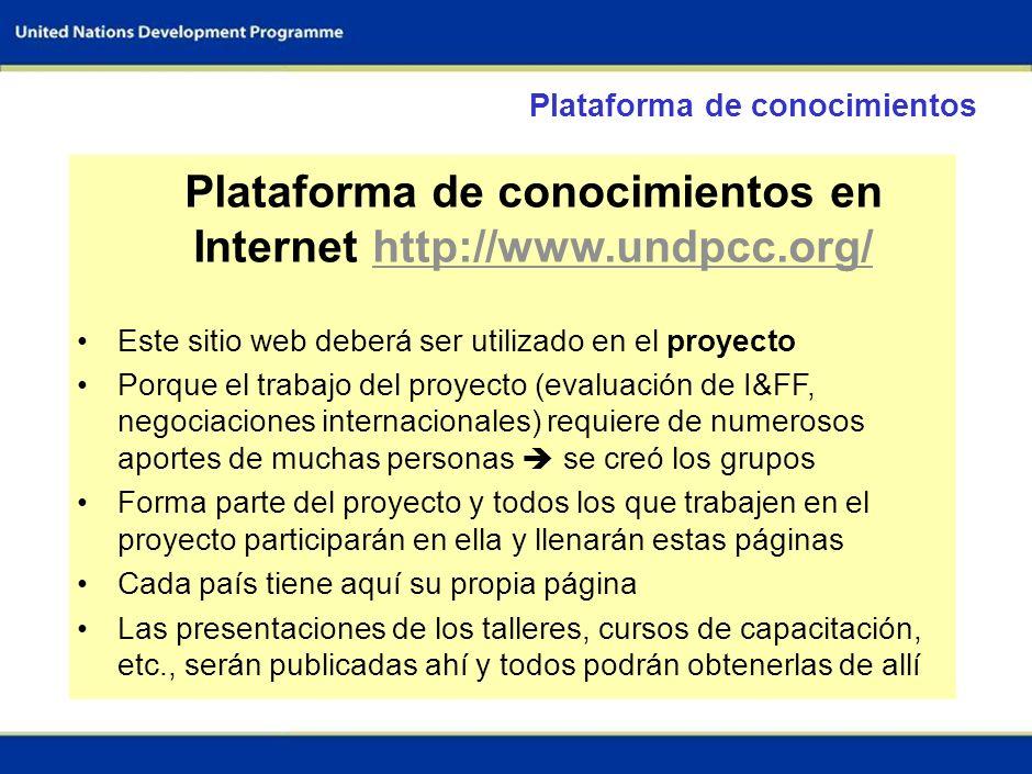 35 PLATAFORMA DE CONOCIMIENTOS SOBRE EL CAMBIO CLIMÁTICO Teresita Chávez, PNUD