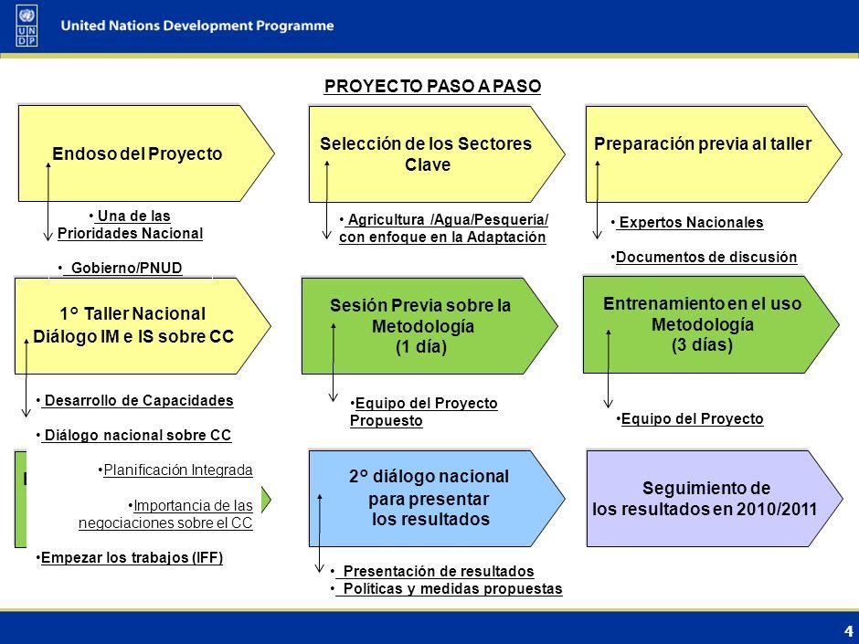 3 Resultados del proyecto Fortalecimiento de capacidades nacionales en CC Evaluación de los flujos de inversión y financieros (I&F) en sectores clave