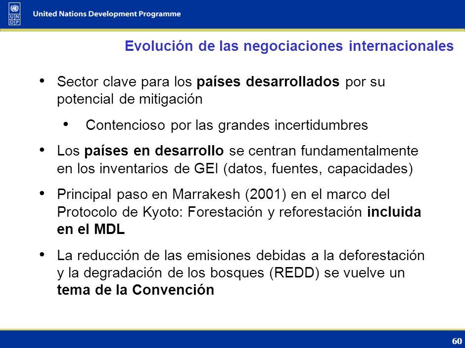 59 El papel del los bosques en la CMNUCC Cambio climático y Variabilidad climática Impactos Respuestas (CMNUCC) AdaptaciónMitigación Bosques: …manteni