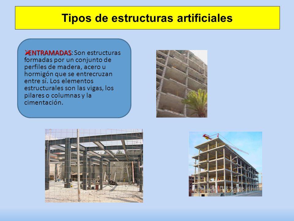 Tipos de estructuras artificiales ENTRAMADAS ENTRAMADAS: Son estructuras formadas por un conjunto de perfiles de madera, acero u hormigón que se entre