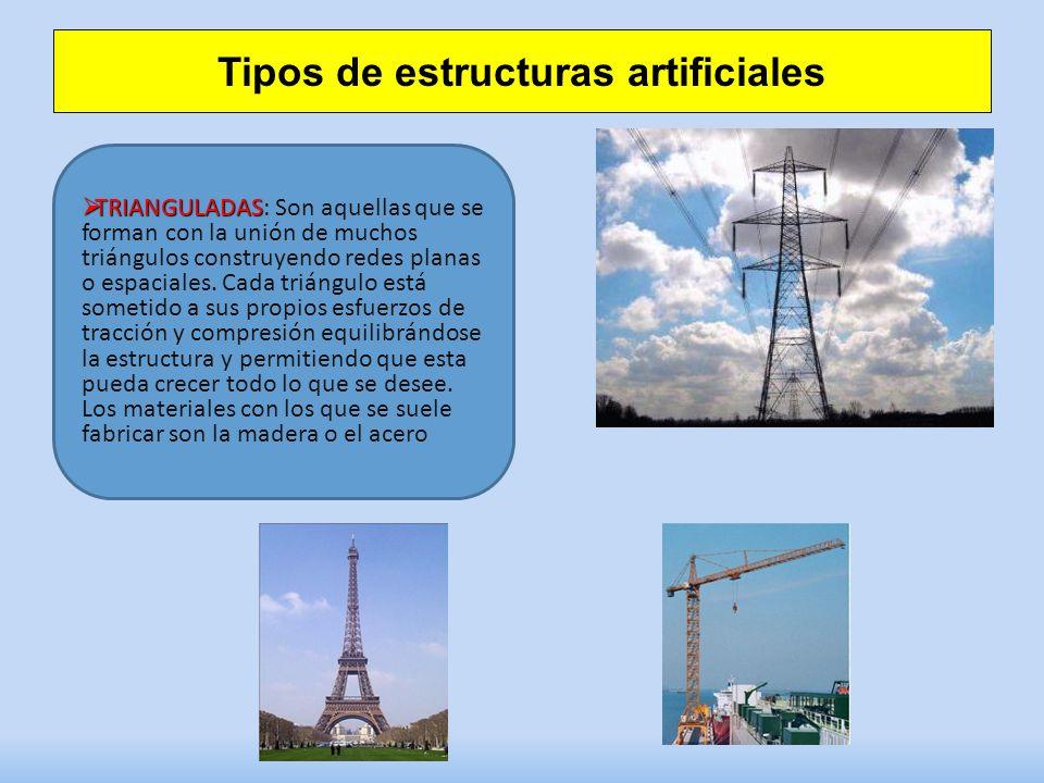 Tipos de estructuras artificiales TRIANGULADAS TRIANGULADAS: Son aquellas que se forman con la unión de muchos triángulos construyendo redes planas o espaciales.