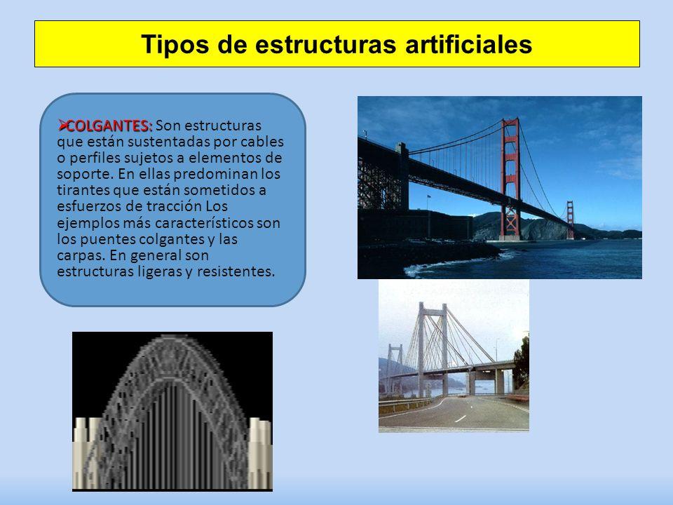 Tipos de estructuras artificiales COLGANTES: COLGANTES: Son estructuras que están sustentadas por cables o perfiles sujetos a elementos de soporte. En