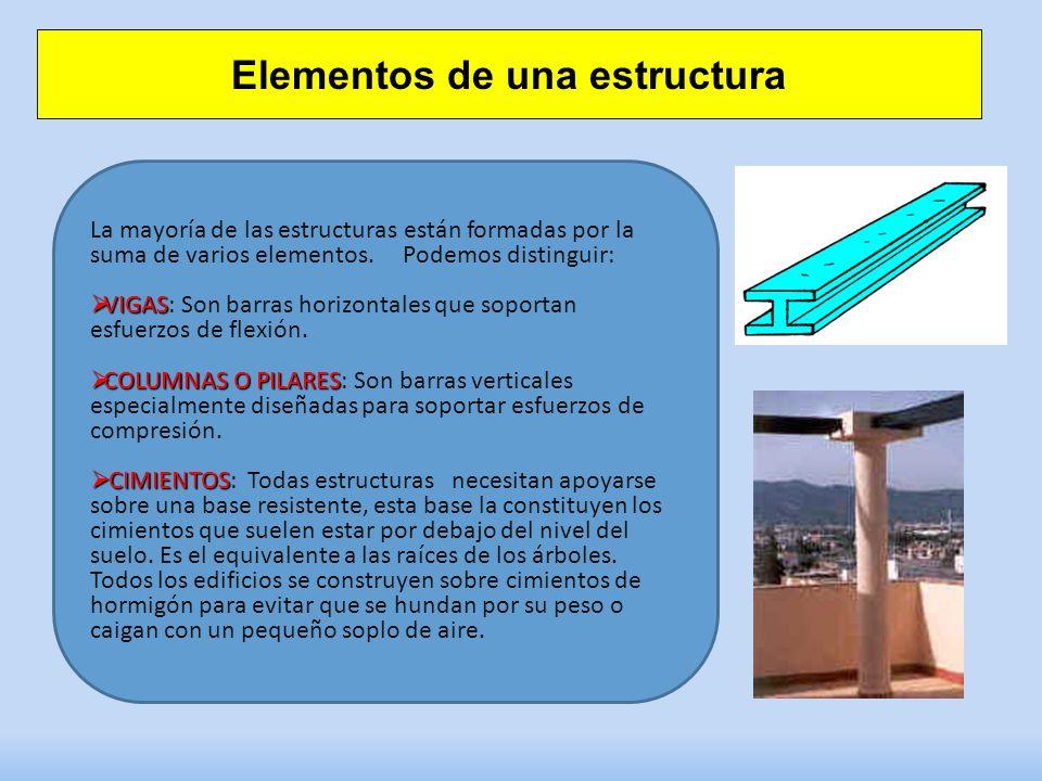 Elementos de una estructura La mayoría de las estructuras están formadas por la suma de varios elementos.Podemos distinguir: VIGAS VIGAS: Son barras horizontales que soportan esfuerzos de flexión.