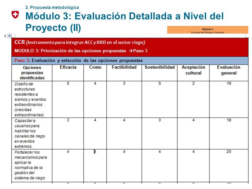 16 2. Propuesta metodológica Módulo 3: Evaluación Detallada a Nivel del Proyecto (II) Hacer un brainstorming y seleccionar posibles opciones de adapta