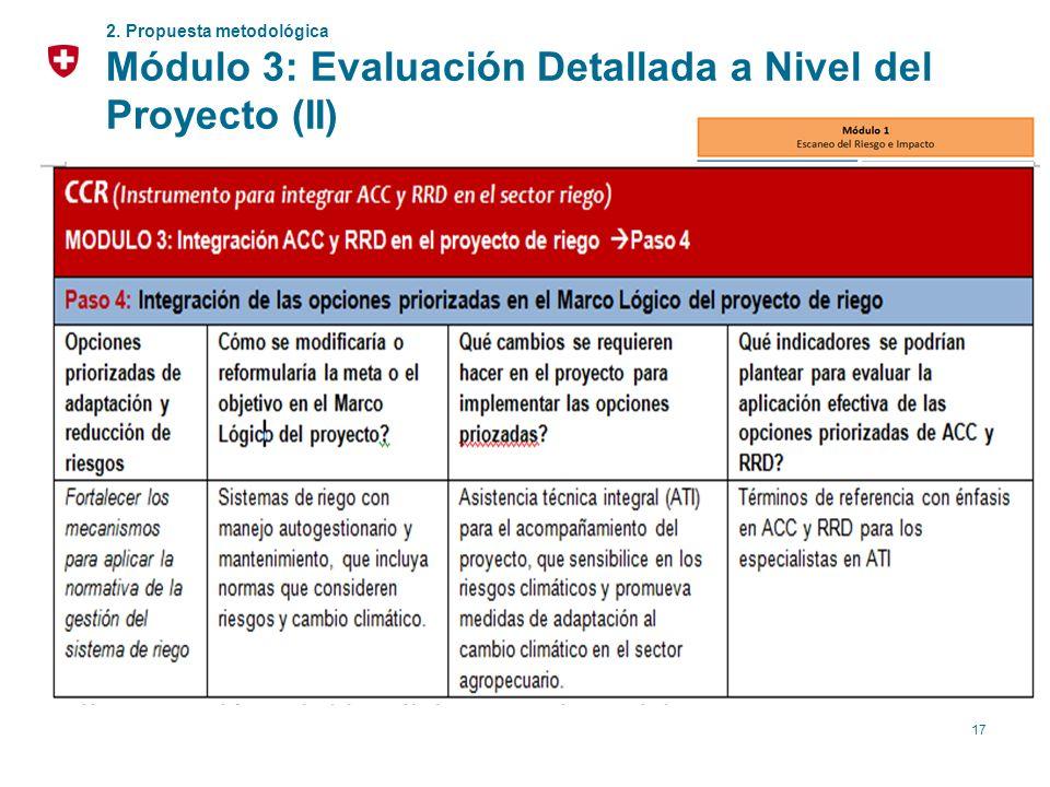 17 2. Propuesta metodológica Módulo 3: Evaluación Detallada a Nivel del Proyecto (II) Definición de indicadores para M&E para medir la efectividad de