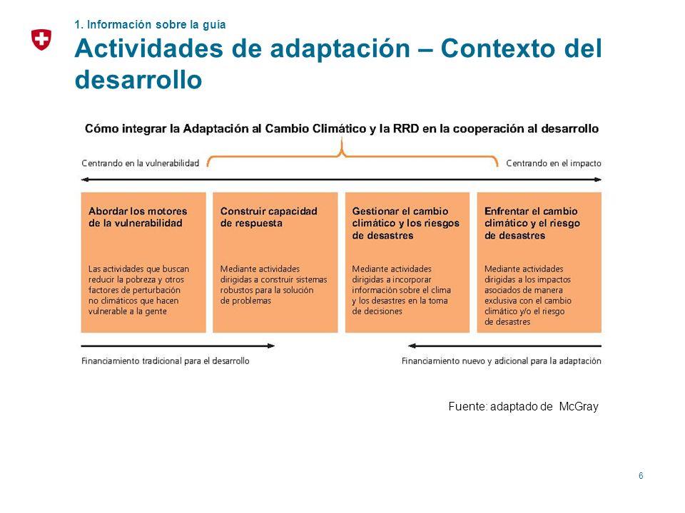 6 1. Información sobre la guía Actividades de adaptación – Contexto del desarrollo Fuente: adaptado de McGray