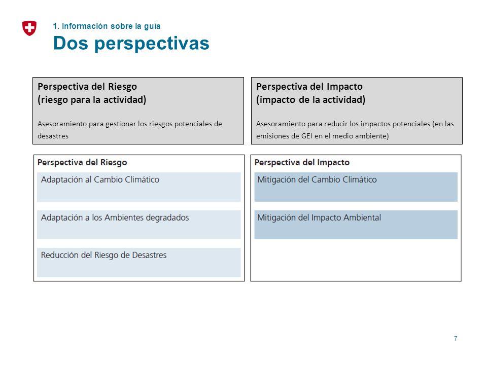 7 1. Información sobre la guía Dos perspectivas Perspectiva del Impacto (impacto de la actividad) Asesoramiento para reducir los impactos potenciales