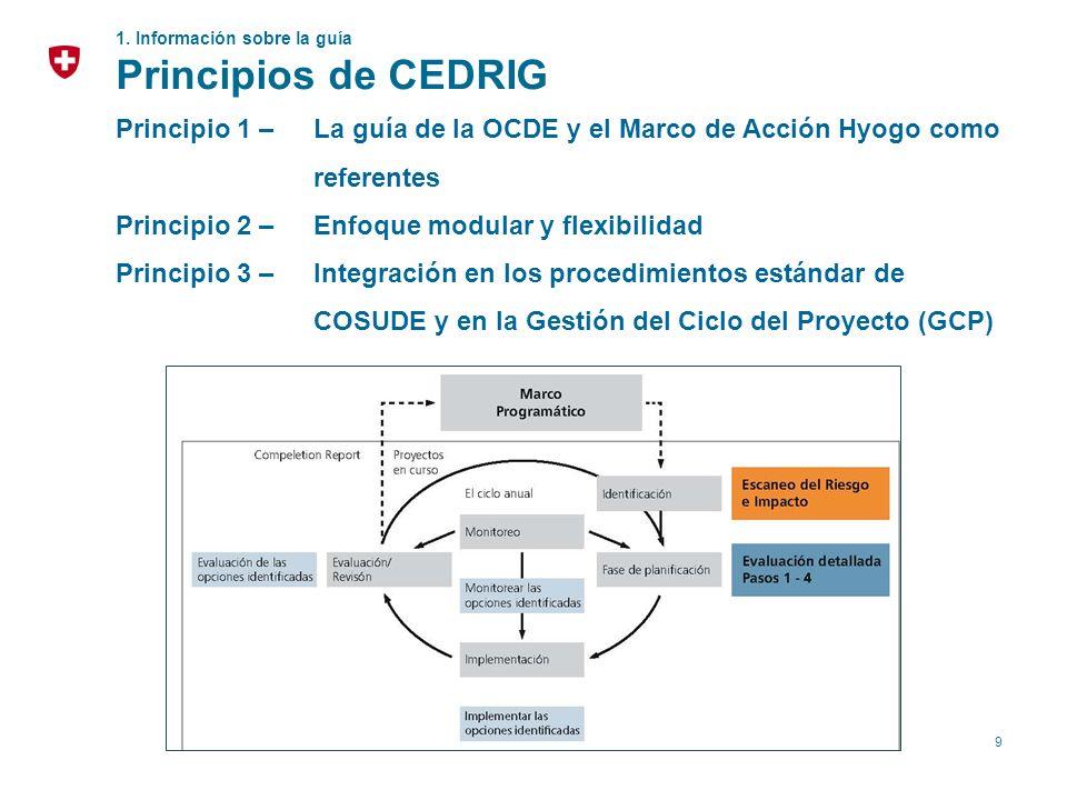 9 1. Información sobre la guía Principios de CEDRIG Principio 1 – La guía de la OCDE y el Marco de Acción Hyogo como referentes Principio 2 – Enfoque