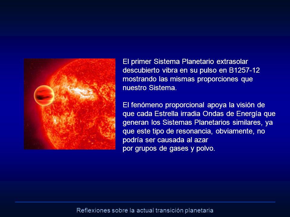 Reflexiones sobre la actual transición planetaria El primer Sistema Planetario extrasolar descubierto vibra en su pulso en B1257-12 mostrando las mism